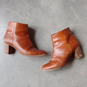J. Crew Cognac Brown Leather Aggie Ankle Boots 8.5